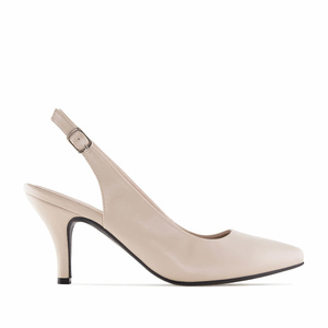 Beige faux Leather Slingback Shoes