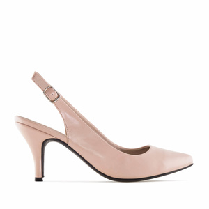 Nude faux Leather Slingback Shoes