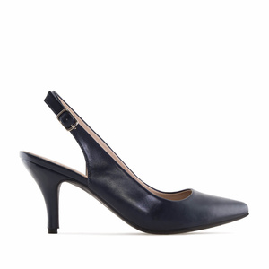 Navy faux Leather Slingback Shoes