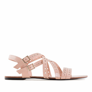 Nude faux Leather Roman Sandals