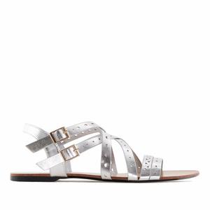 Páskové sandále romanas stříbrné.