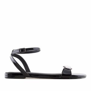 Lesklé páskové sandále. Černé.