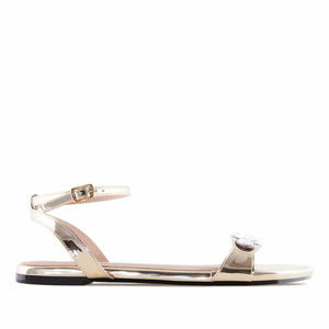 Gold Patent Gem Flat Sandals