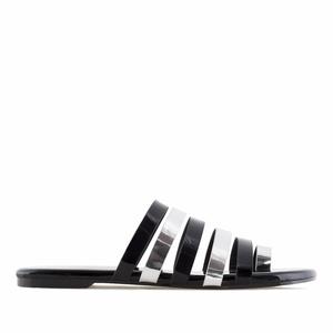 Ravne papuče, metalizirano crne