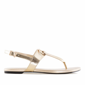 Sandalias T-Bar en Soft Oro