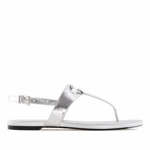 Silver faux Leather Flat Sandals