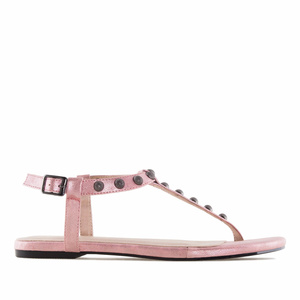 Pink Shiny-Patent T-Bar Tack Flat Sandals