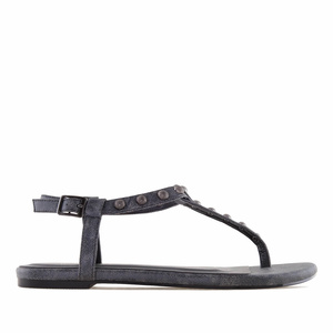 Sandalia T-Bar en Brillo Gris