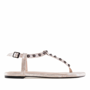 Pearl Shiny-Patent T-Bar Tack Flat Sandals