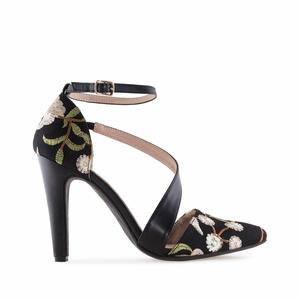 Flower Black faux Leather Stilettos