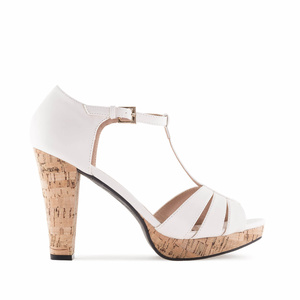 White faux Leather Cork Platform Sandals
