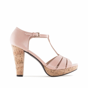 Nude faux Leather Cork Platform Sandals
