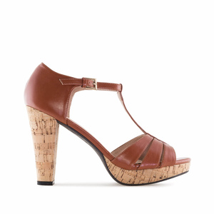 Brown faux Leather Cork Platform Sandals