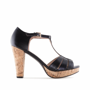 Black faux Leather Cork Platform Sandals