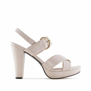 Beige faux Leather Platform Sandals