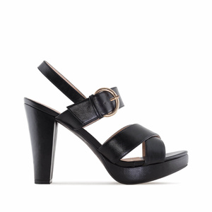 Black faux Leather Platform Sandals