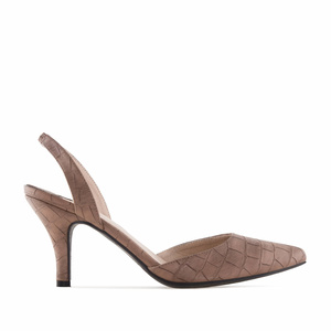 Brown Croco Slingback Stilettos