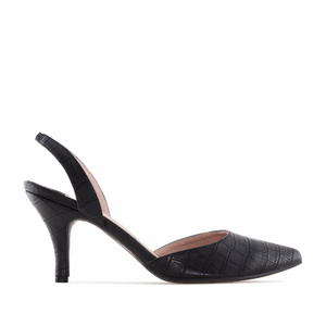 Black Croco Slingback Stilettos