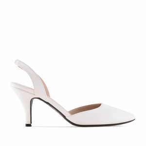 White faux Leather Slingback Stilettos