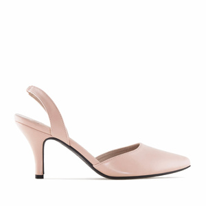 Nude faux Leather Slingback Stilettos
