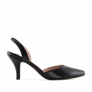Black faux Leather Slingback Stilettos