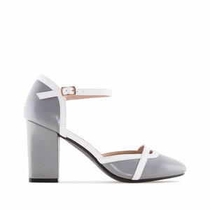 Grey faux Leather Heeled Shoes