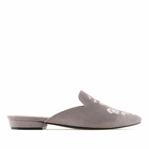 Grey Suede Floral Flat Mules