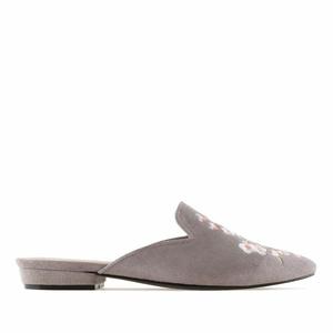 Grey Suede Flower Flat Mules