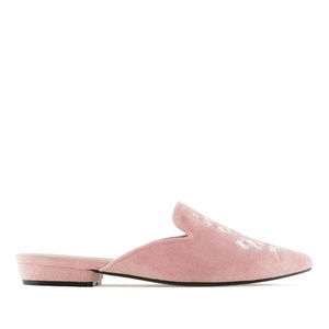 Pink Suede Floral Flat Mules