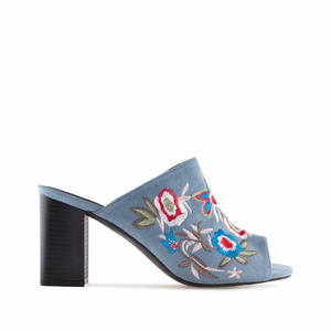 Embroidered Blue Suede Mules