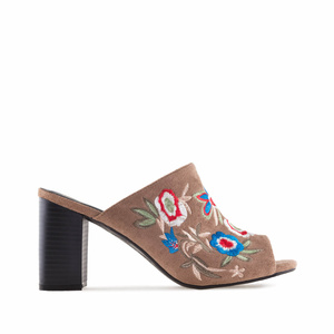 Embroidered Brown Suede Mules