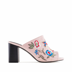 Embroidered Rose Suede Mules