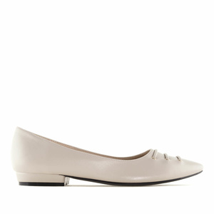 Beige faux Leather Fine Tip Ballet Flats