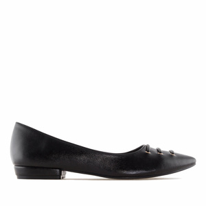 Black faux Leather Fine Tip Ballet Flats