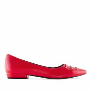 Red faux Leather Fine Tip Ballet Flats