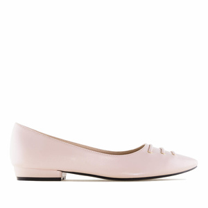 Pink faux Leather Fine Tip Ballet Flats