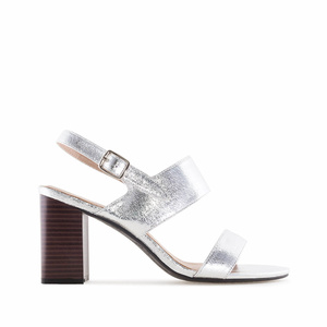 Metallic Silver faux Leather Sandals