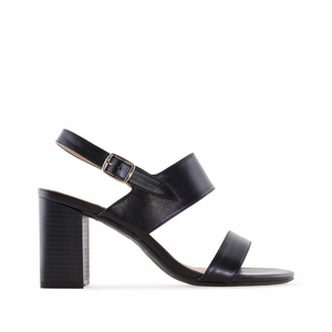 Black faux Leather Sandals