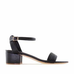 Black faux Leather Low Heeled Sandals