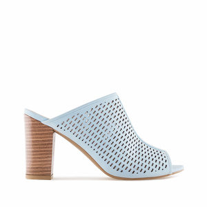 Sky Blue Die-Cut Heeled Mules