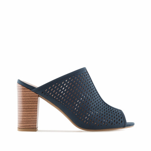 Navy Die-Cut Heeled Mules