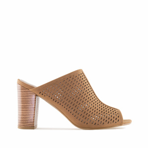 Brown Die-Cut Heeled Mules