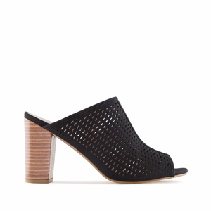 Black Die-Cut Heeled Mules