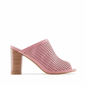 Pink Die-Cut Heeled Mules