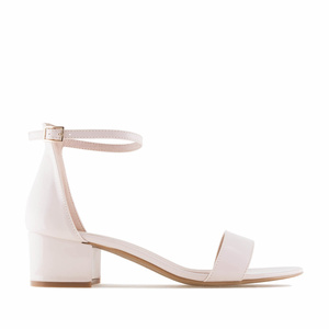 Beige Patent Low Heeled Sandals