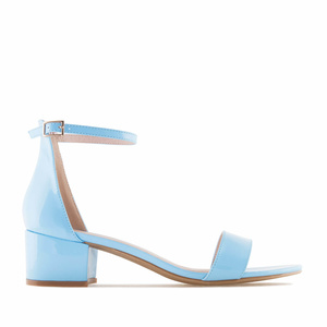 Sky Blue Patent Low Heeled Sandals