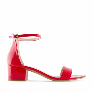 Red Patent Low Heeled Sandals