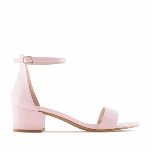 Pink Patent Low Heeled Sandals
