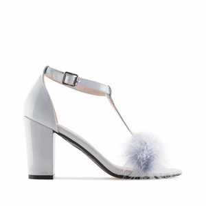 Grey Patent Feather Sandals