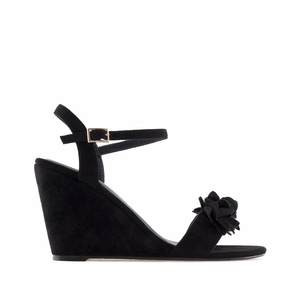 Black Suede Flower Wedges